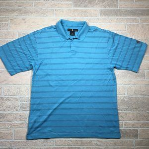 Tiger Woods Nike Golf Blue Striped Cotton Polo